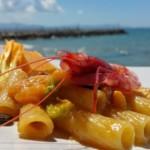 Tortiglioni con melone retato, caffè e gambero rosso di Sicilia